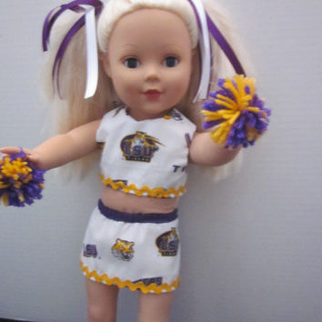 LSU (Louisiana State University) American Girl Cheerleader Outfit Doll Cheer Uniform By Sweetpeas Bows & More