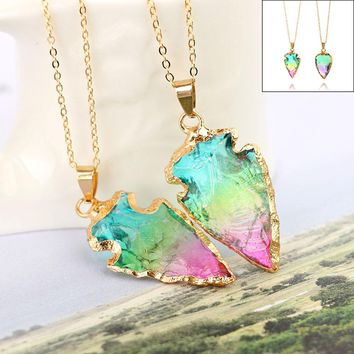Women Fashion Raw Stone Arrow Crystal Quartz Necklace