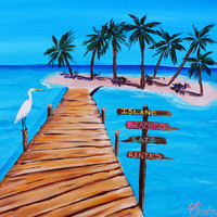 Beach Decor, Beach art, Ocean painting, Boardwalk painting, Island art