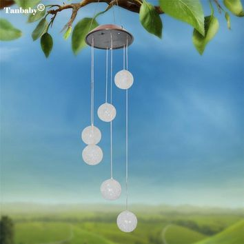 Tanbaby 6Leds Ball Hanging Multicolor Solar Wind Chimes decorative LED Light  For Window/ Party/ Garden/Wedding etc.