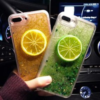 Fashion Lemon quicksand iPhone Phone Cover Case For iphone 6 6s 6plus 6s-plus 7 7plus