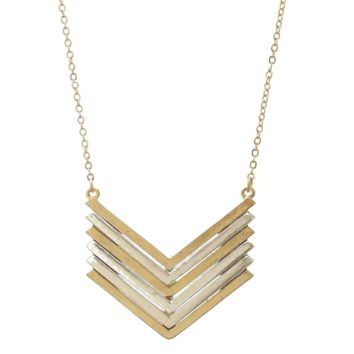 Two Tone Mixed Metals Chevron Long Necklace