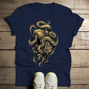 Men's Octopus T Shirt Hand Drawn Hipster Shirts Octotiger Tiger Graphic Tee Cool Drawing