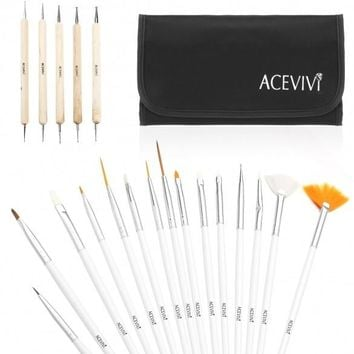 New 20Pcs Pro Nail Art Designing Painting Dotting Pen Brushes Bundle Tool Kit With Bag