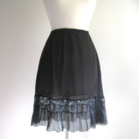 Vintage Black Lace Accordian Half Slip Size Small