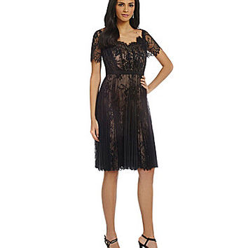 Sara Emanuel Pleated Lace Fit-and-Flare Dress - Black/Nude
