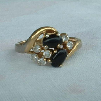 SETA Signed Ring Twin Black Cabs Rhinestones Size 7.5 GP Vintage Jewelry