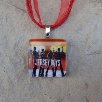 Broadway Musical Jersey Boys Glass Pendant and Ribbon Necklace