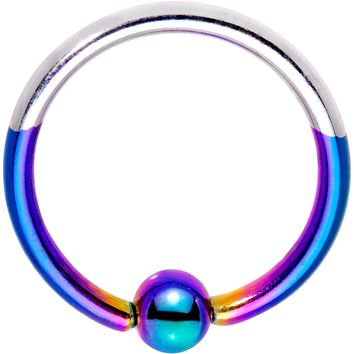 """16 Gauge 3/8"""" Rainbow and Steel Tone Two Tone BCR Captive Ring"""