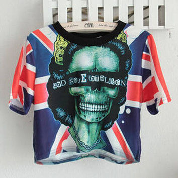 The Union Flag Skull Head Print Short Sleeve Graphic Cropped T-Shirt