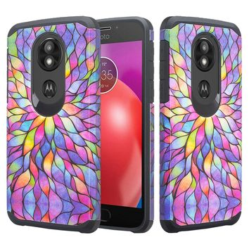 Motorola Moto G6 Play , g6 Forge Case, Slim Hybrid Dual Layer [Shock Resistant] Case Cover for Moto G6 Play - Rainbow flower
