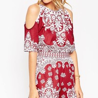 ASOS Cold Shoulder Playsuit in Placed Mosaic Print