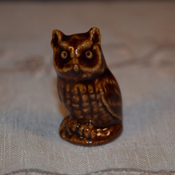 Miniature Wade Owl Figurine Vintage Ceramic Owl Collectible Figurine Tiny Menagerie Woodland Animal Wade Pottery Red Rose Whimsical Series