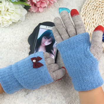 IdeaCherry 2017 Fashion Multifunction Touch Screen Gloves  Lace Bow Women Winter Gloves Ladies Girls Sheep Wool Guantes Mittens