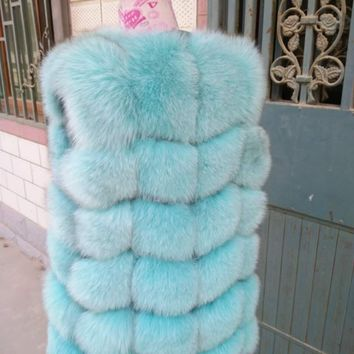 Hot Sale Women's Genuine Real Fox Fur Vests , Female Winter Vest Gilet , Luxury Natural Fur Waistcoat , Fox Fur Coat