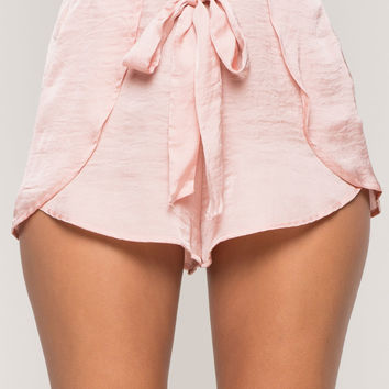 Tie Front Wrap Satin Shorts