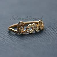Initial Name Ring with Crystal Stones - Diamond Ring - Any Font Available - Unique Gift  -  18K Gold Plated