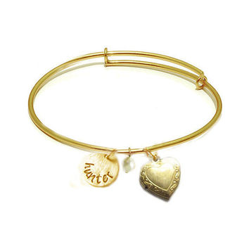 Heart Locket Expandable Bangle Bracelet,brass Adjustable Bangle Hand Stamped Wire Wrapped Bracelet Personalized Jewelry Gift brass or silver