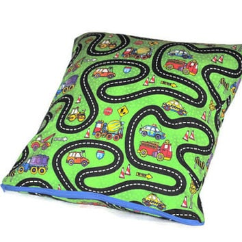 Boys Construction Work Pillowcase // Cars Pillowcase // Green Road Work Pillow with Zipper