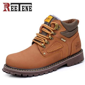 Reetene Winter Men Boots High Quality Male Genuine Leather Boots Work & Safety Boots F