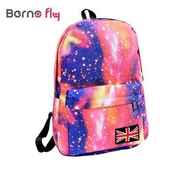 Fashion School Bags For Teenagers Stars Universe Space Printing Backpack School Book Backpacks British Flag Bag Free Shipping