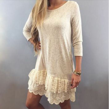 Cream 3/4 Sleeve Lace Hem Dress