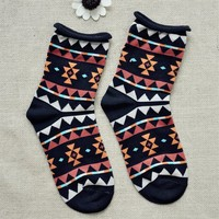 FunShop Woman's Geometric Pattern Cotton Ankel Socks in 2 Colors Black D1126
