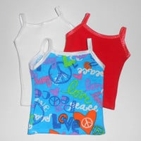 American Girl Doll Clothes 3 Tank Tops White/Coral and Turquoise Print with Peace signs fits 18 inch dolls