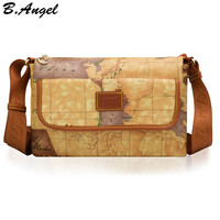 High quality world map women bag fashion women messenger bags special handbag brand designer shoulder bag casual bag