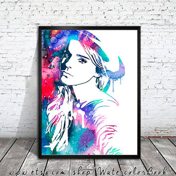 Emma Watson Watercolour Painting Print, watercolor painting, watercolor art, Illustration,Emma Watson poster, Celebrity Portraits