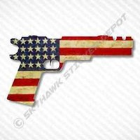 American Flag Handgun Vinyl Decal Bumper Sticker Molon Labe Truck USA fits Jeep