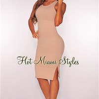 Nude Knit Ribbed Dress