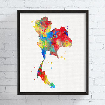 Thailand Map, Thailand Wall Art, Thailand Poster, Watercolor Map, Map Print, Map Poster, Country Map, Travel Print, Framed Art, Custom Color