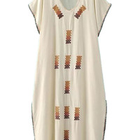Beige V-neck Patterned High Split Folk Tunic