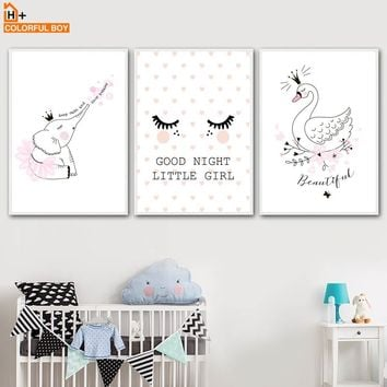 Pink Swan Eyelash Elephant Wall Art Canvas Painting Nordic Posters And Prints Cartoon Animals Wall Pictures Baby Kids Room Decor