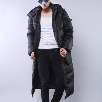 Nice New Design Winter Coat Men X-Long Warm Down Thickening Winter Male Casual Jacket Windproof Hooded Plus Size Parkas HJ111