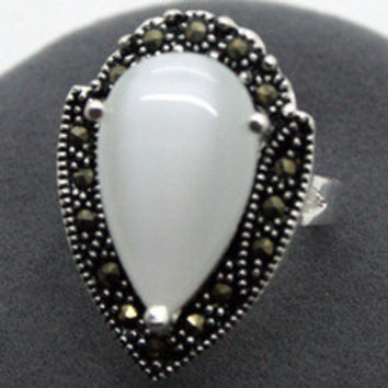 Free shipping >>>>>>RARE WOMENS STERLING SILVER MARCASITE WHITE OPAL RING 925 STERLING SILVER SOLID