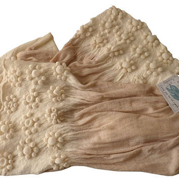 Floral Knit Shawl Wrap - soft earth tones ombre colors - Handcrafted flower-shaped volumes pattern by Texturable