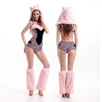 Halloween Costume Pink Leopard Club Games Uniform [8979046087]