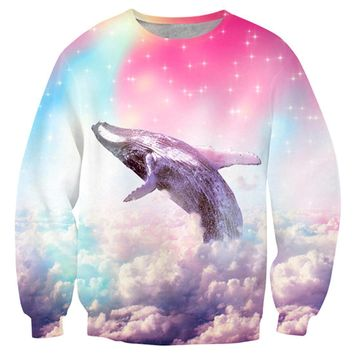 Humpback Whale Soaring Through A Rainbow Sky Print Pullover Sweater