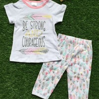 In Stock- Be strong and Courageous capri set
