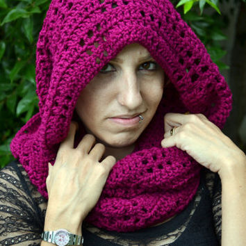 Mulberry crocheted winter infinity scarf, cowl, neck warmer
