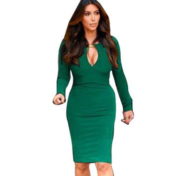 New Fashion Europen & American Women V-neck Optical Illusion slim Stretch bodycon Business Pencil Cocktail Business dresses