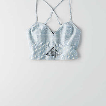 AEO Chambray Crop Top, Light Wash