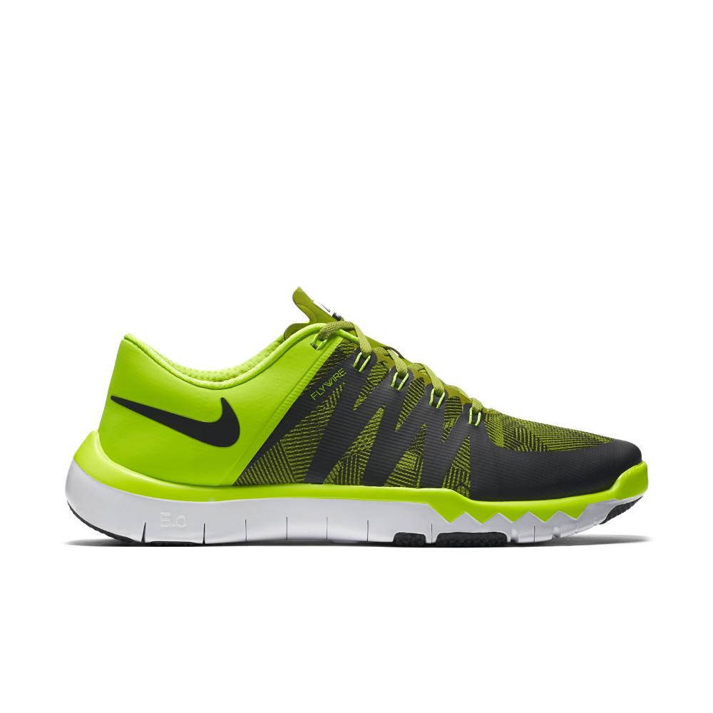 nike free trainer 5.0 - mens black/black/green glow sticks