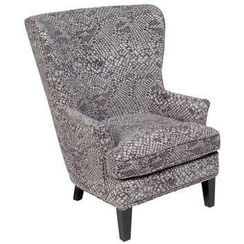 "Porter Medusa Ash Grey Wingback Accent Chair with Silver Nailhead Trim - 41""H x 35""D x 30""W 