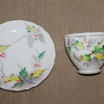 "Kasuga Ware Flower of the Month Series ""Holly"" Tea Cup & Saucer Set, HAND PAINTED, Holly Berries and Leaves, Fine China, Made in Japan"