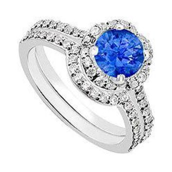 14K White Gold Blue Sapphire & Diamond Engagement Ring with Wedding Band Sets 1.60 CT TGW