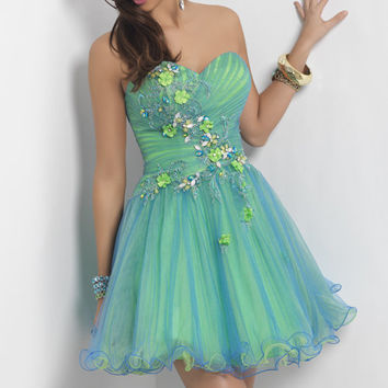 Spearmint Layered Tulle and Floral Embellished Short Homecoming Dress - Unique Vintage - Homecoming Dresses, Pinup & Prom Dresses.