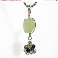 Summer SALE Serpentine New Jade Tassel Pendant Necklace Wire Wrapped Sterling Silver multi gemstone